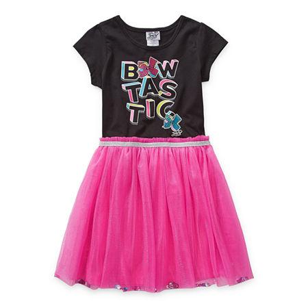 Jojo Siwa Jojo Little & Big Girls Short Sleeve Tutu Dress, Xx-small (4-5) , Black