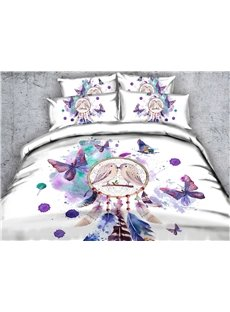 Dream Catcher and Butterfly Printed Cotton 3D 4-Piece White Bedding Sets/Duvet Covers
