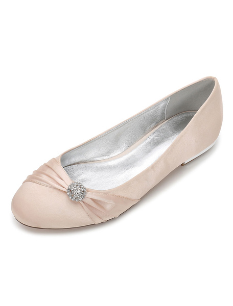 Milanoo White Bridesmaid Shoes Satin Round Toe Rhinestones Wedding Shoes Flat Mother Shoes