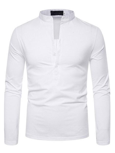 Milanoo T-Shirts & Tanks T-shirts Casual V-Neck Long Sleeves Slim Fit Black White