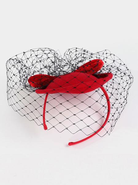 Milanoo Women's Retro Fascinator Wool Burgundy Bowknot Veil Flapper Headpiece Halloween
