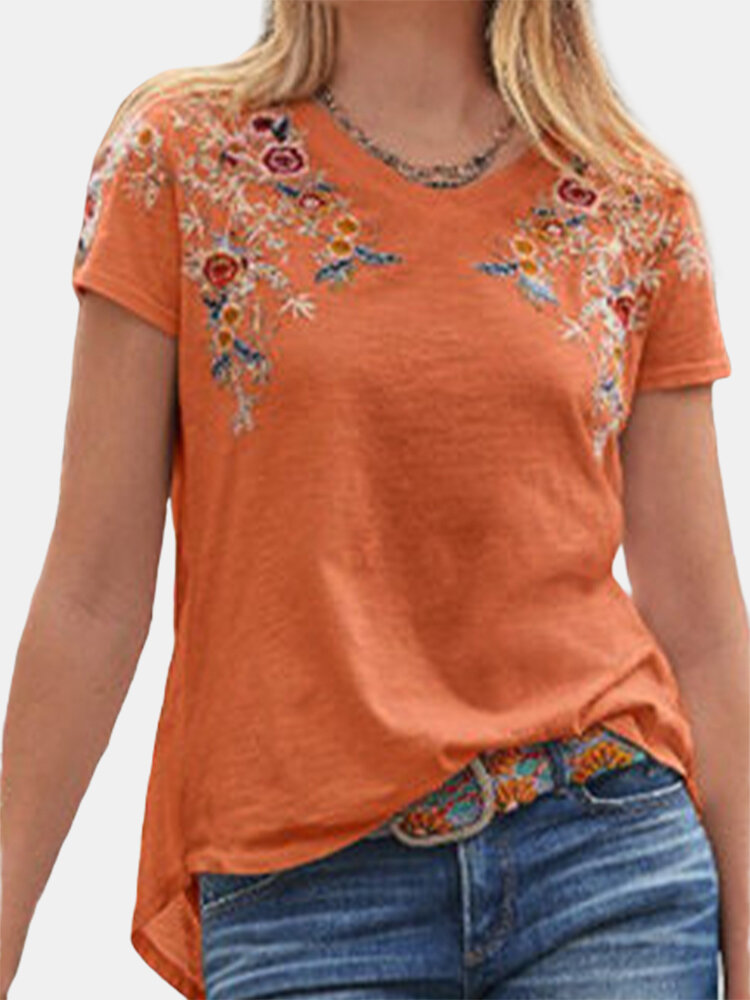 Embroidery V-neck Short Sleeve Casual T-shirt For Women