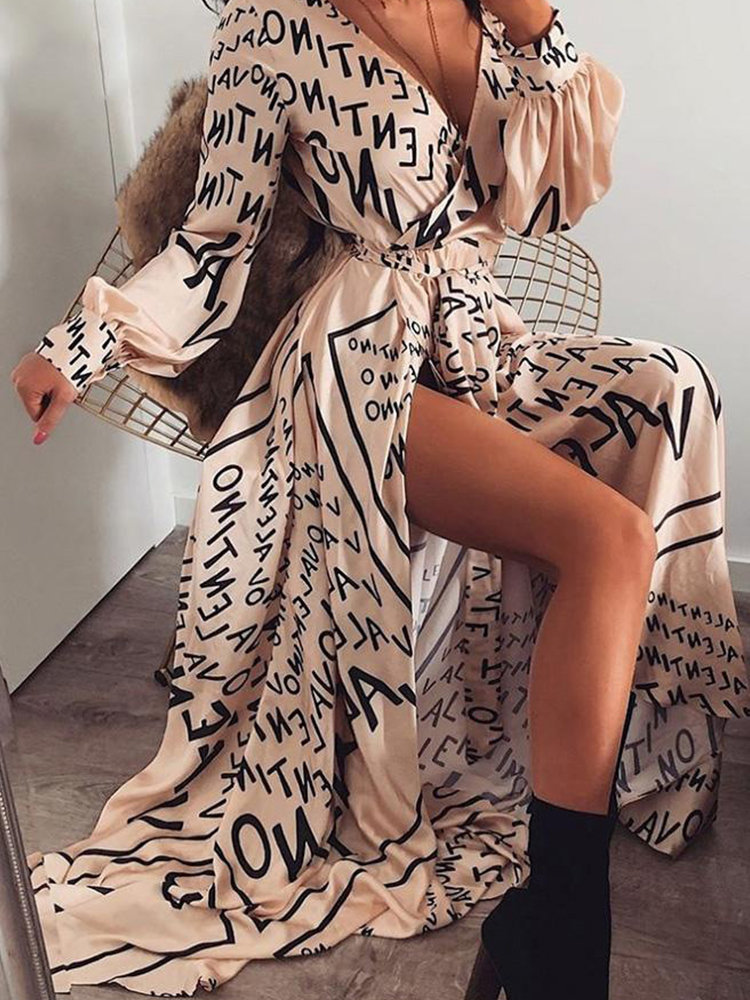 Sexy Letters Printing V-neck Long-sleeve Lace-up Maxi Dress