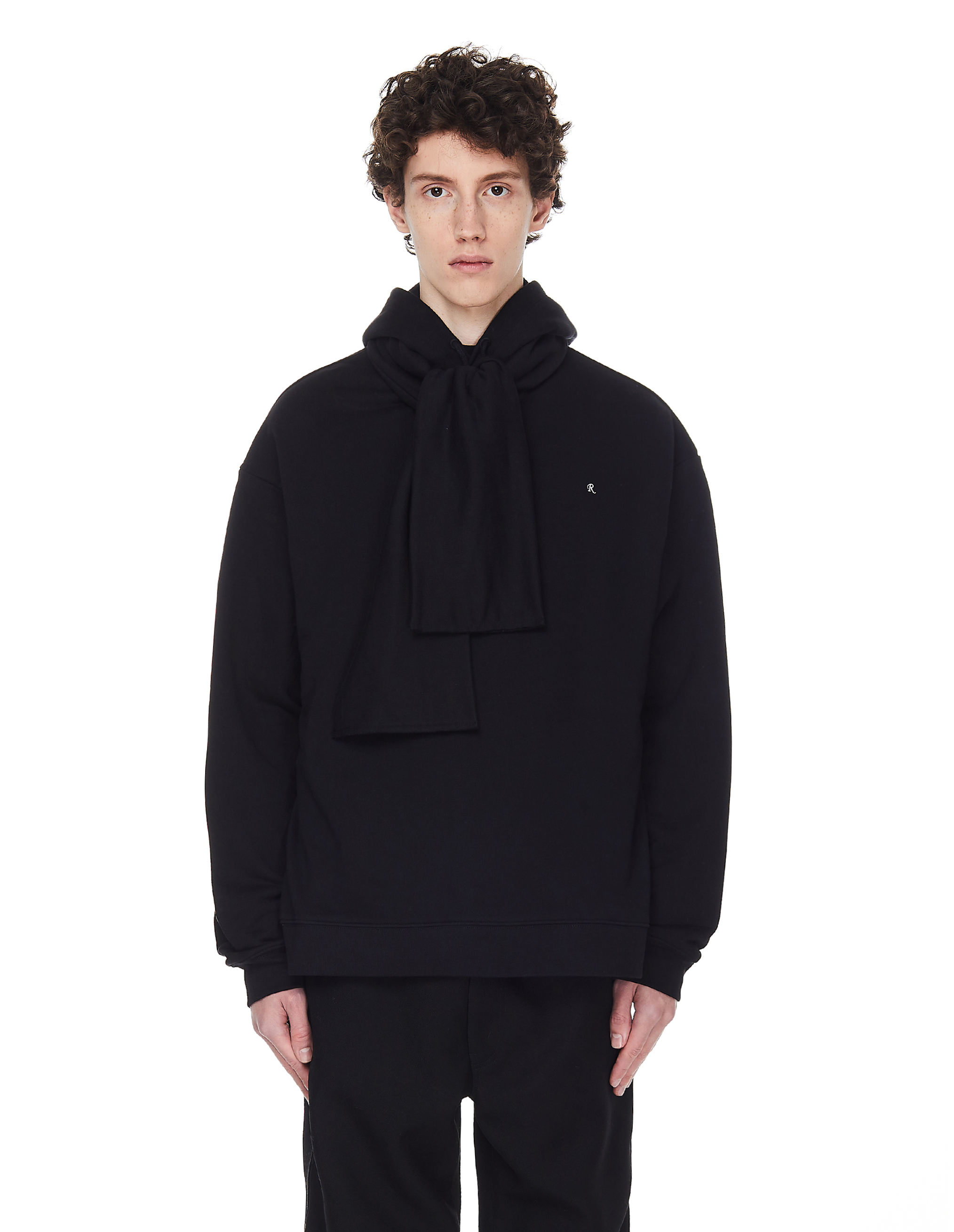 Raf Simons Black Hoodie With Zipped Scarf