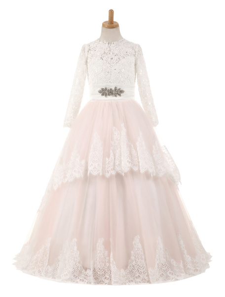 Milanoo Flower Girl Dresses Lace Tulle Bows Satin Pageant Dresses Round Neck Long Sleeve Sash Blush Pink Floor Length Party Dress