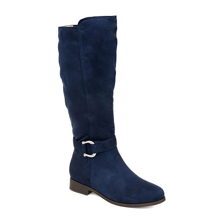 Journee Collection Womens Cate Stacked Heel Zip Riding Boots, 10 Medium, Blue