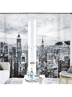 3D Off-White Photography Modern Buildings Printed Custom Semi Blackout Curtains