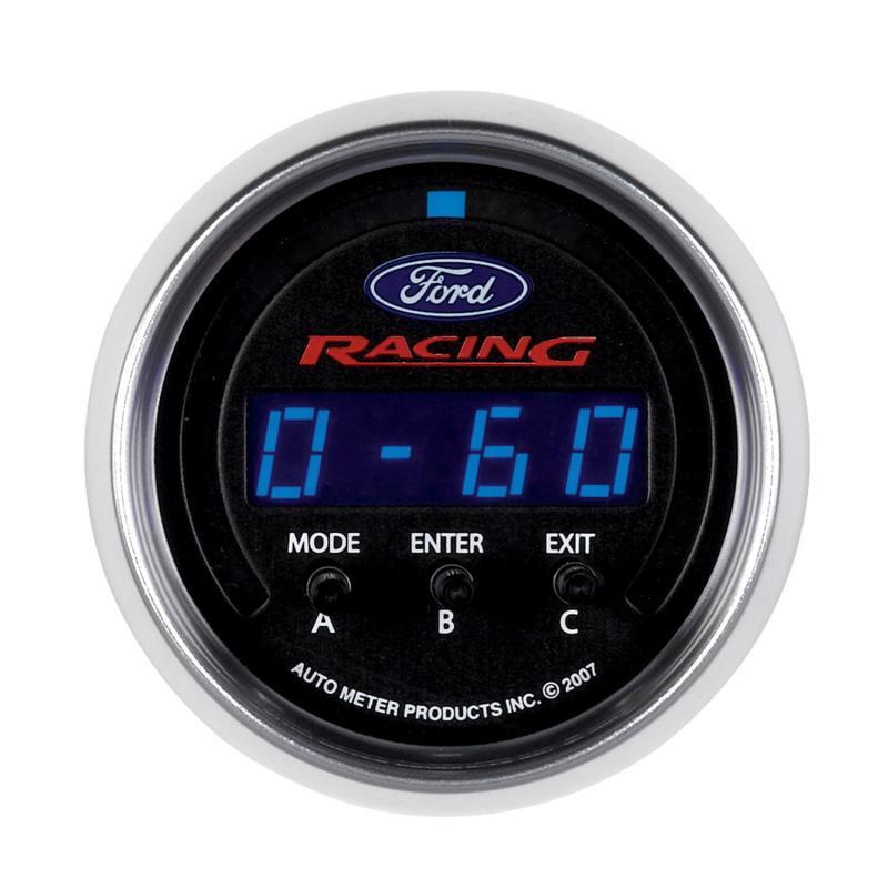 AutoMeter GAUGE; PERF METER; 2 1/16in.; 1/4 MILE/HP/0-60/60-0/G FORCES; DIGITAL; FORD RACI