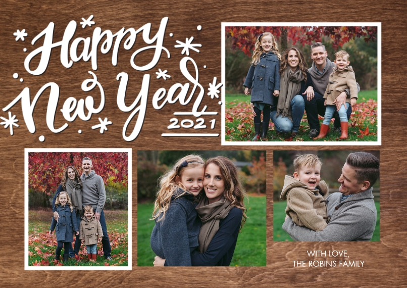 New Year's Photo Cards Flat Matte Photo Paper Cards with Envelopes, 5x7, Card & Stationery -New Year 2021 Gold Frames by Tumbalina