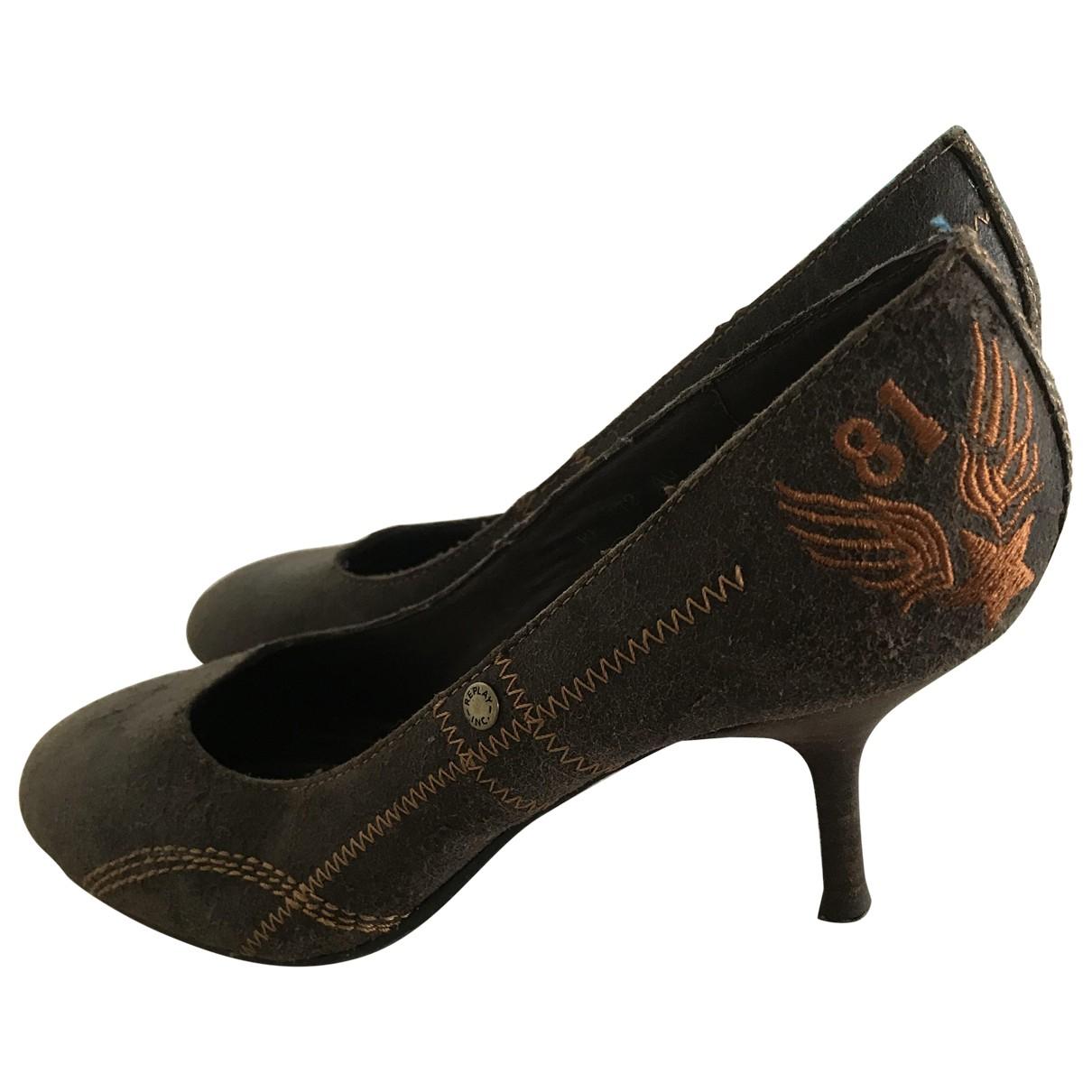 Replay \N Brown Leather Heels for Women 40 EU