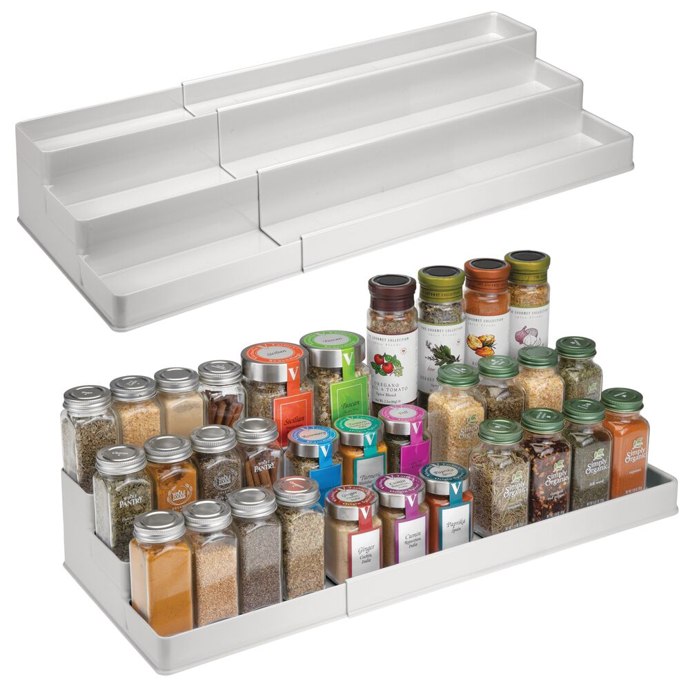 3 Tier Plastic Expandable Kitchen Spice Rack Organizer in Light Gray, 16.75