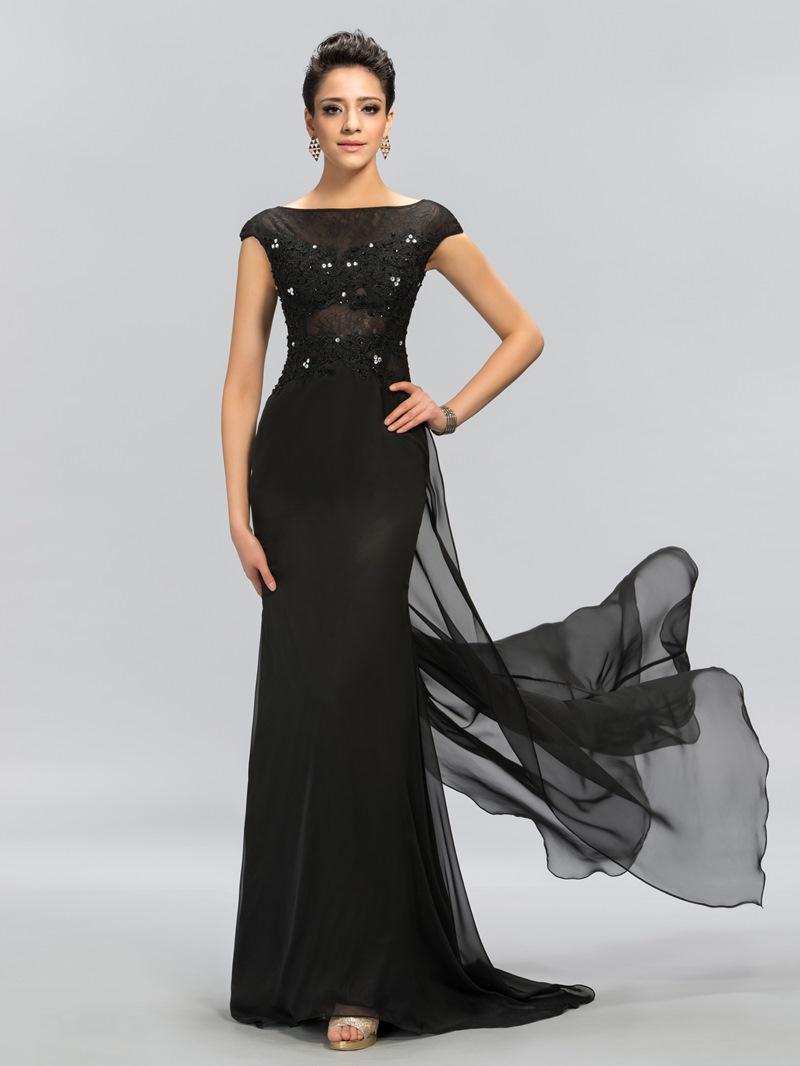 Ericdress Cap Sleeves Lace Beading Black Evening Dress