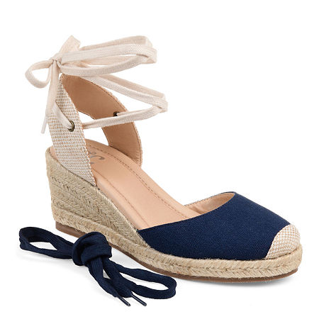 Journee Collection Womens Monte Lace-up Round Toe Espadrille Wedge, 10 Medium, Blue