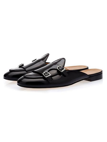 Milanoo Mens Mule Monk Strap Loafers Black Cowhide Slides Backless Slipper Shoes