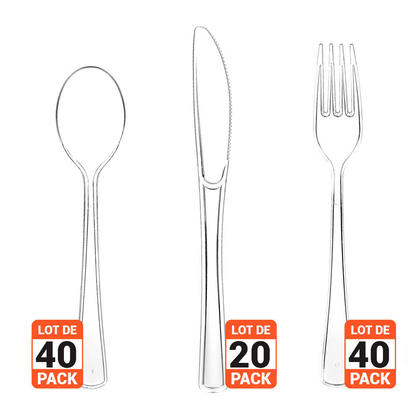 Clear Party Plastic Cutlery Set Mix Fork/Knife/Spoon 100Pcs - LIVINGbasics™