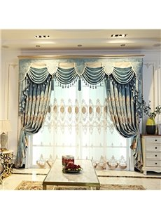 Vintage Floral with Light Green Pattern Classy Organza Custom Sheer Curtains for Living Room Bedroom