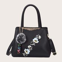 Pom-pom Charm Flower Embroidered Satchel Bag