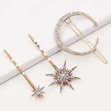3pcs Rhinestone Decor Star & Moon Decor Hair Clip