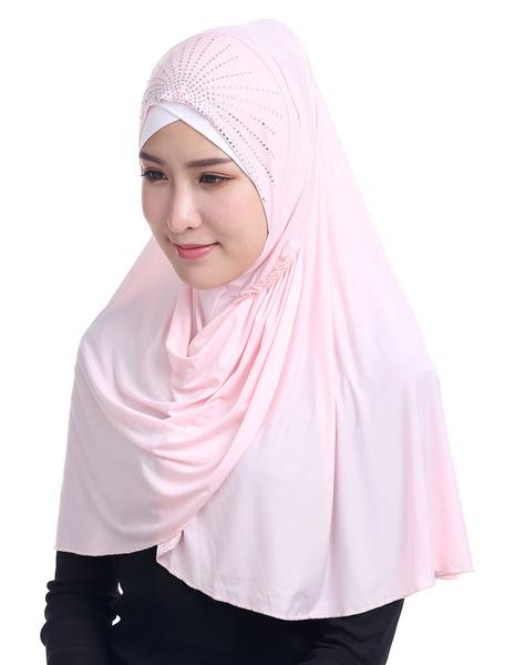 Milanoo Hijab Scarf Rhinestones Arabian Clothing Accessories Head Scarf