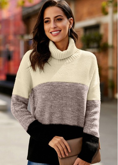 Trendy Contrast Long Sleeve Turtleneck Pullover Sweater - M