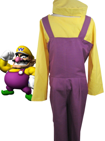 Milanoo Super Mario Bros Wario Cosplay Costume Halloween
