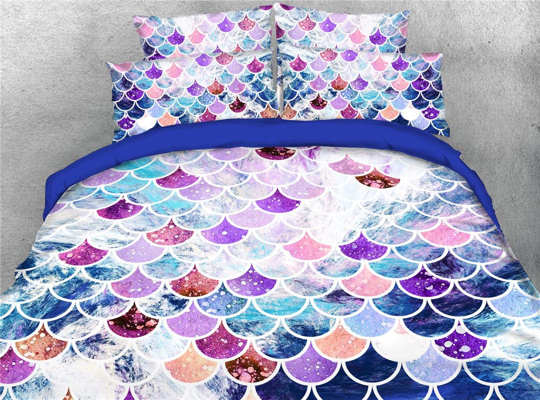 Orderly Scales Five-Piece Set Comforter Set Machine Wash won't fade Polyester Bedding Sets