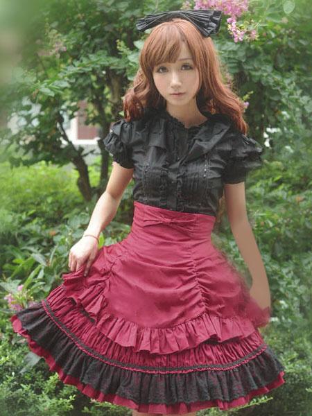 Milanoo Sweet Lolita Dress SK Pink Lace Criss Cross Ruffle High Waist Cotton Lolita Skirt
