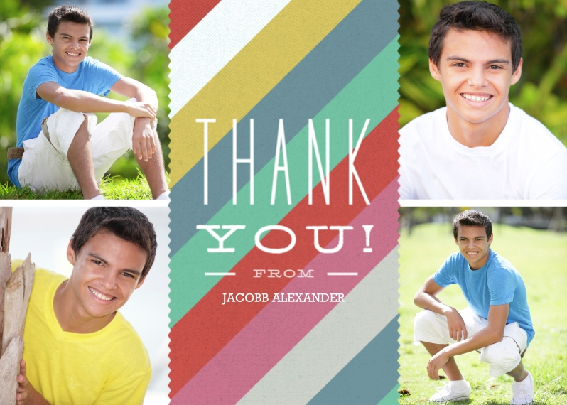 Thank You Cards 5x7 Folded Cards, Standard Cardstock 85lb, Card & Stationery -Thank You Silk Stripes