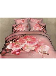 3D Pink Peach Blossom and Bud Printed Cotton 4-Piece Bedding Sets/Duvet Covers