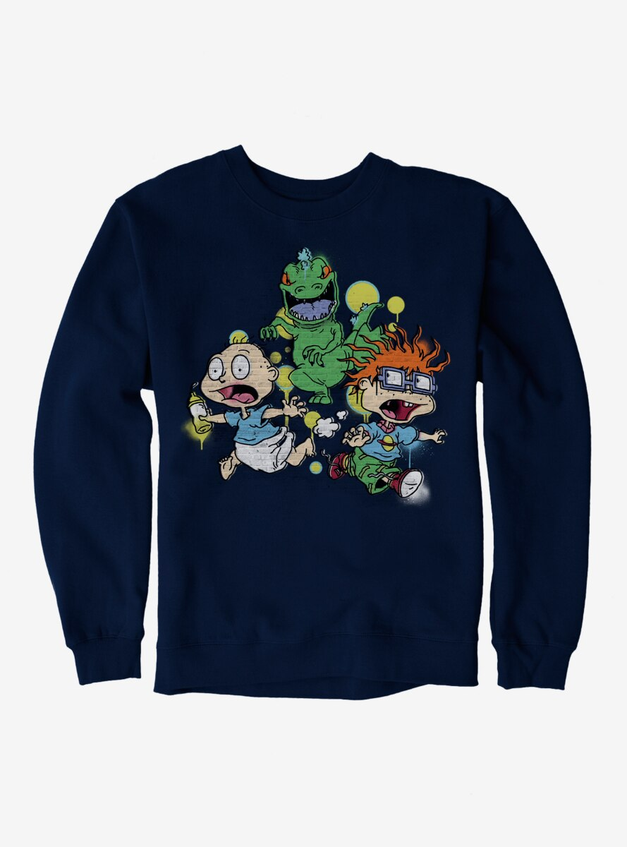 Rugrats Tommy And Chuckie Run From Reptar Sweatshirt
