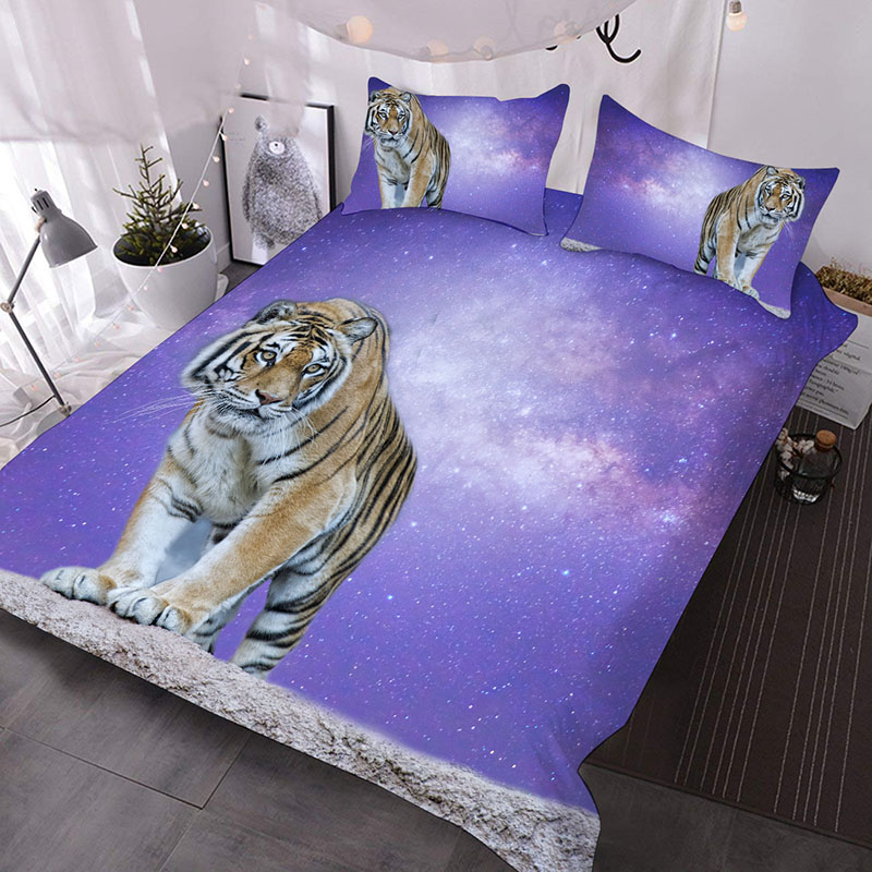 A Tiger Under The Purple Sky 3D Printed 3-Piece Polyester Comforter Sets
