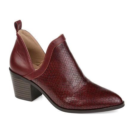 Journee Collection Womens Terri Stacked Heel Booties, 8 Medium, Red