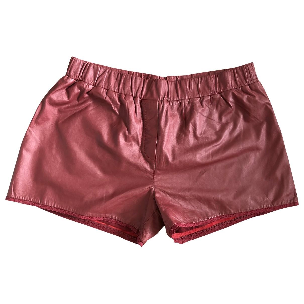 Bel Air \N Burgundy Leather Shorts for Women 3 0-5