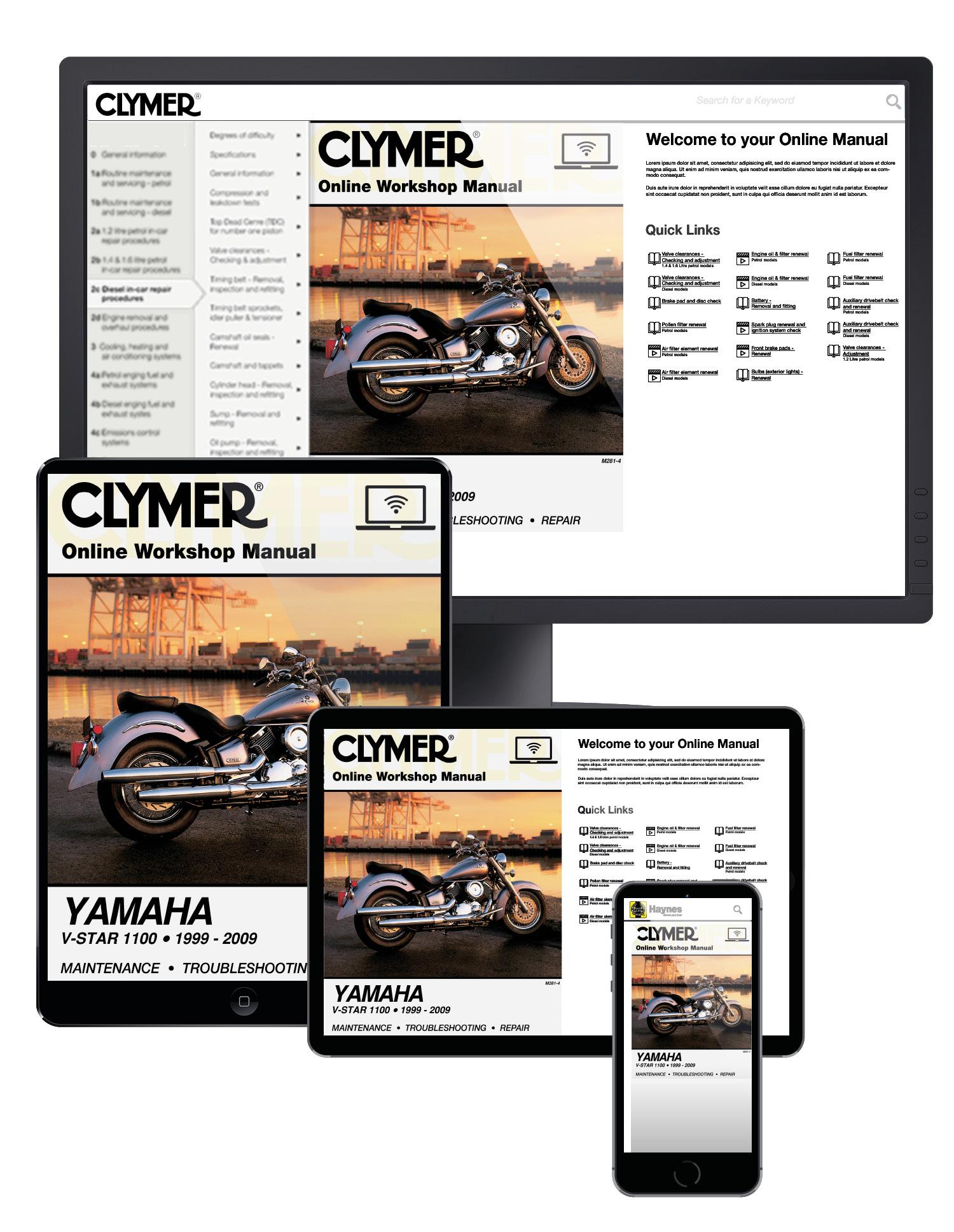 Yamaha V-Star 1100 Series Motorcycle (1999-2009) Service Repair Manual Online Manual