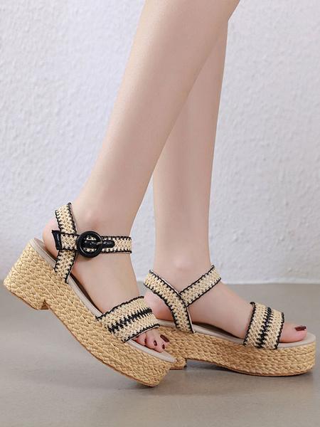 Milanoo Boho Flatform Sandals Women Open Toe Buckle Detail Espadrilles Shoes