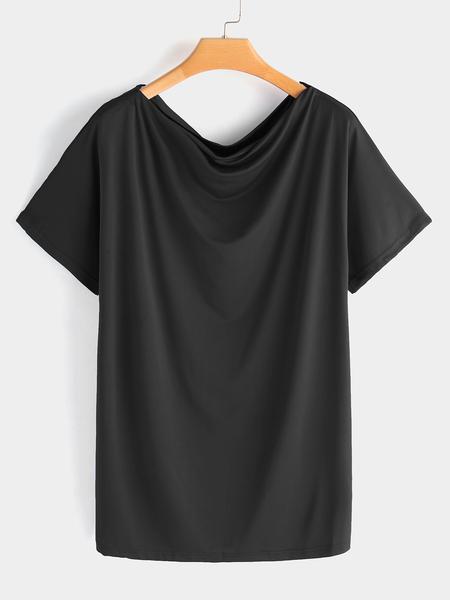 Yoins Black Grey Oversize One Shoulder Half Sleeves T-shirt