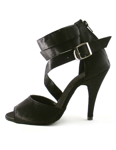 Milanoo Black Buckle Ankle Strap Silk and Satin Woman's Latin Shoes