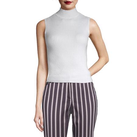 Worthington Womens Mock Neck Sleeveless Pullover Sweater, X-large , White