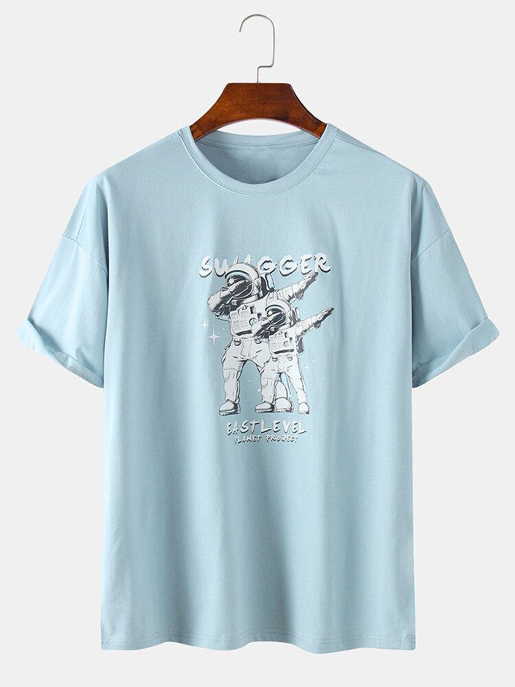 Mens 100% Cotton Spaceman Swag Printed Short Sleeve Graphic T-Shirt