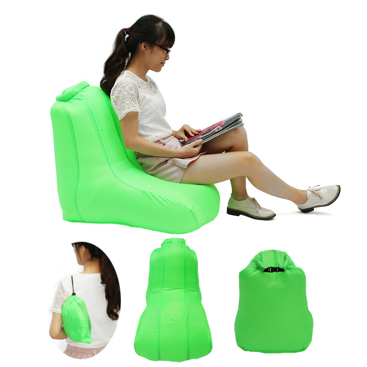 190T Polyester 120x60x48cm Air Inflatable Chair Furniture Portable Water-resistant Max Load 150kg