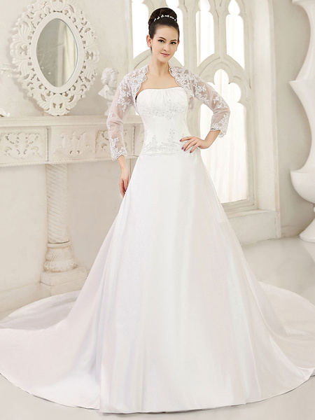 Milanoo White Ball Gown Bridal Wedding Gown with Strapless Chapel Train