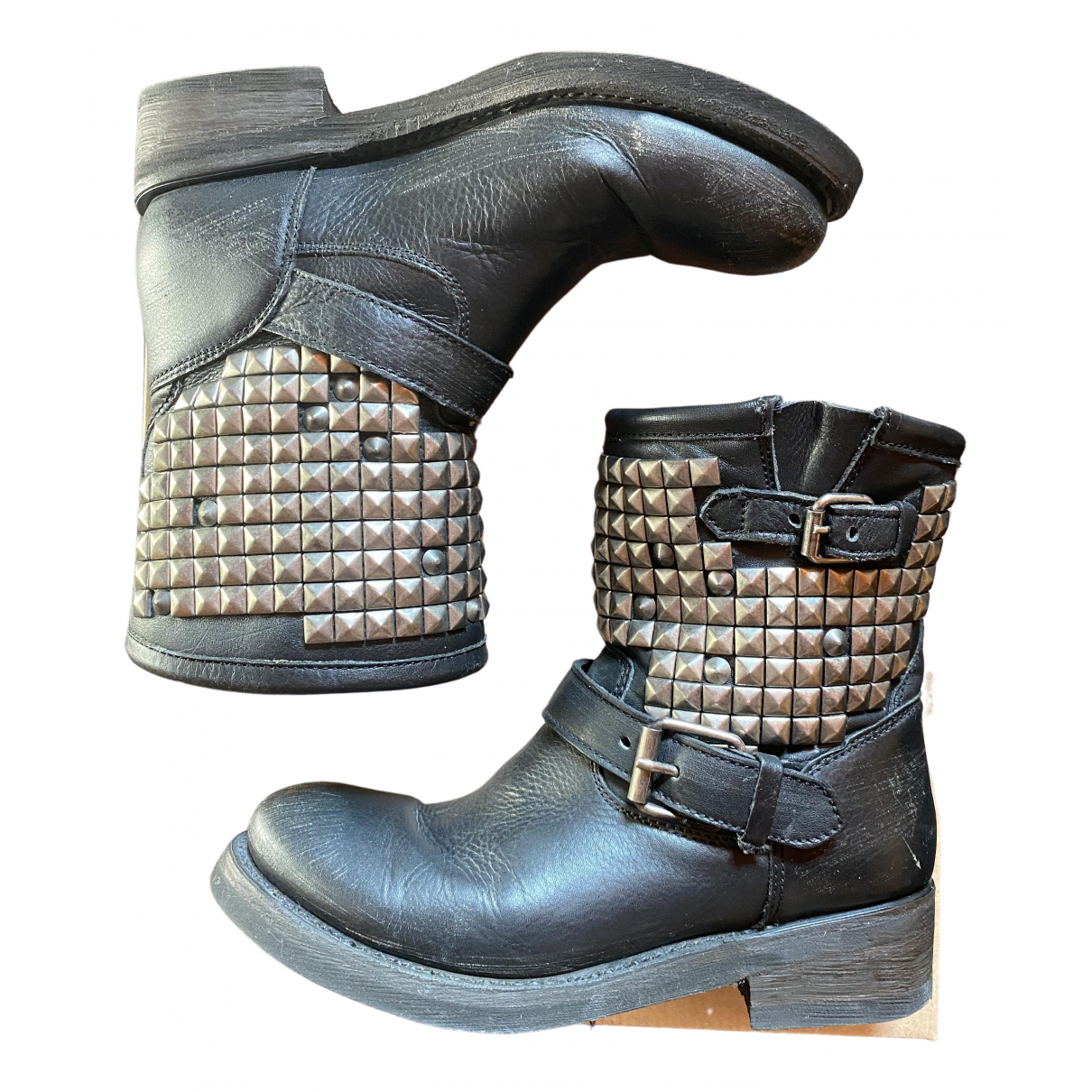 Ash \N Black Leather Ankle boots for Women 39 IT