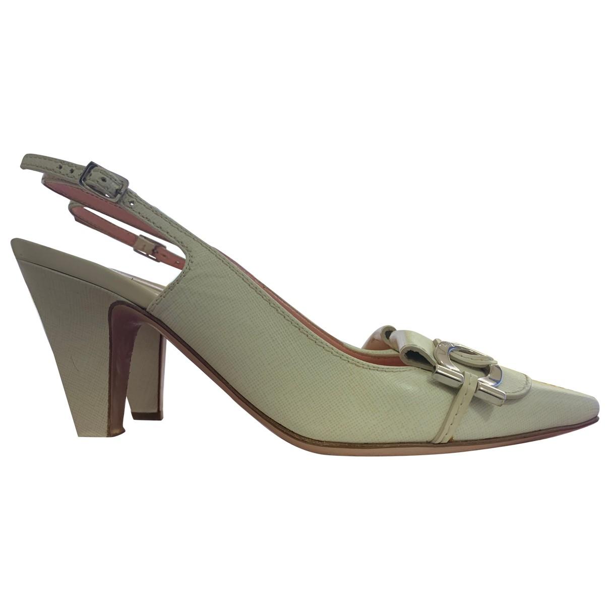 Salvatore Ferragamo \N White Leather Heels for Women 37 EU