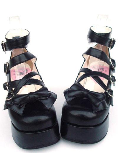 Milanoo Sweet Matte Black Lolita High Platform Shoes Ankle Straps Heart Shape Buckles Bow