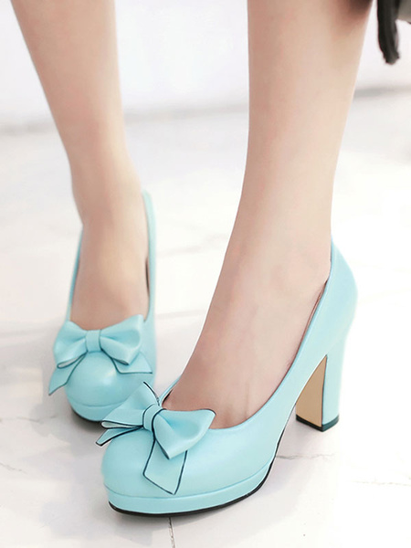 Milanoo Classic Lolita Shoes Bow Platform Chunky High Heel Lolita Pumps