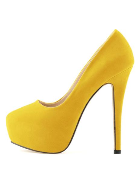 Milanoo Women's Black Platform Heels 2020 Stiletto Heel Round Toe Slip On Pumps Heeled Shoes