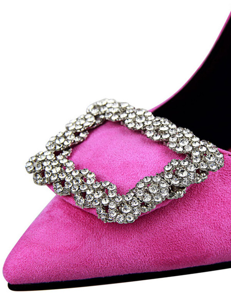 Milanoo Suede High Heels Women Pointed Toe Rhinestones Slip On Pumps Party Shoes