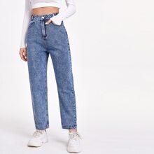 Acid Wash Carrot Jeans