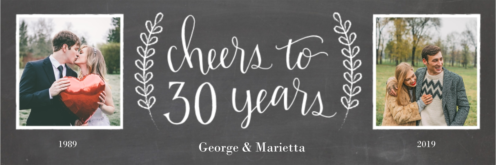 Anniversary Photo Banner 1x3, Home Décor -Chalkboard Anniversary