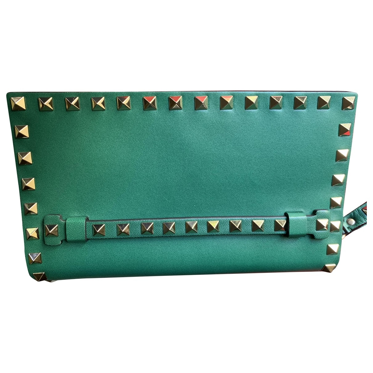 Valentino Garavani Rockstud Green Leather Clutch bag for Women \N
